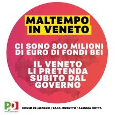 """Maltempo in Veneto: """"Il Governo non rifiuti gli 800milioni di Fondi BEI che abbiamo messo a disposizione"""
