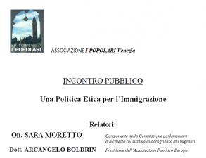 Lunedì 13 l'on. Moretto all'incontro sulla Politica Etica per l'immigrazione