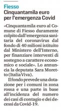 Sulla stampa il mio annuncio dell'arrivo dei fondi ai comuni veneti più colpiti dal Coronavirus