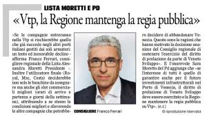 """""""Vtp, la Regione mantenga la regia pubblica"""" (il Gazzettino)"""