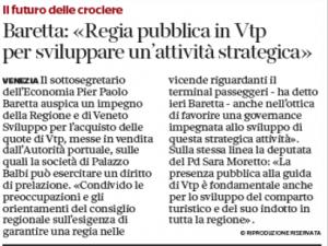 """Vtp, Moretto: """"Fondamentale presenza pubblica per lo sviluppo del comparto turistico"""" (Corriere Veneto)"""